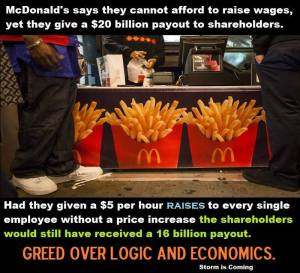 McDonald's Won't Share With Low Wage Americans